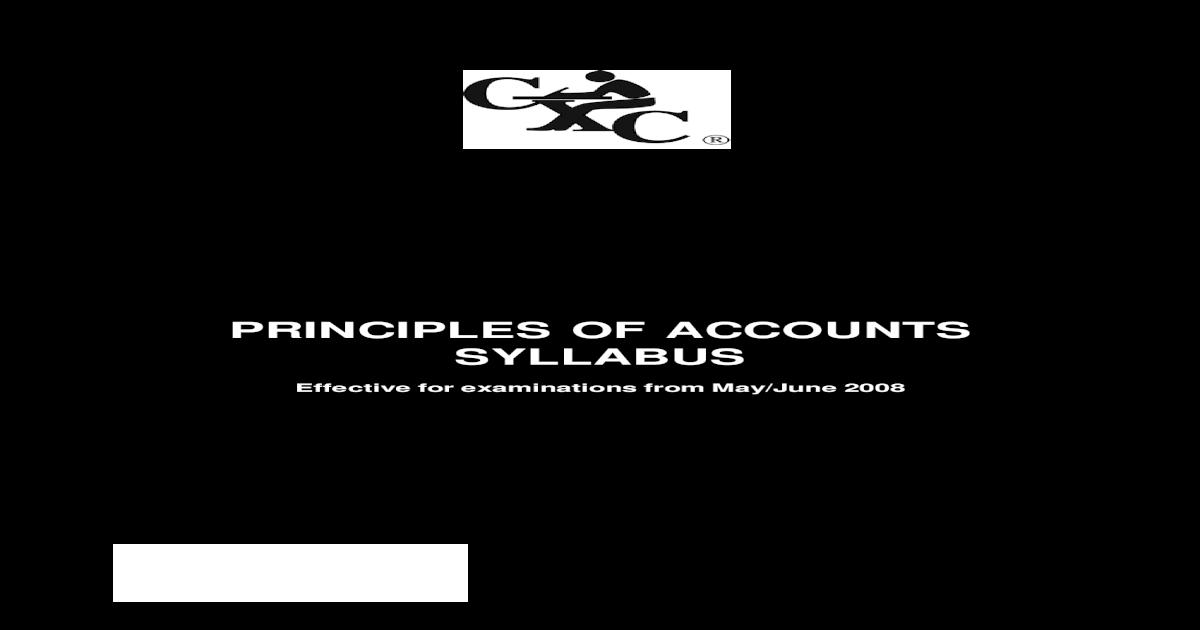 Csec principles of accounts syllabus