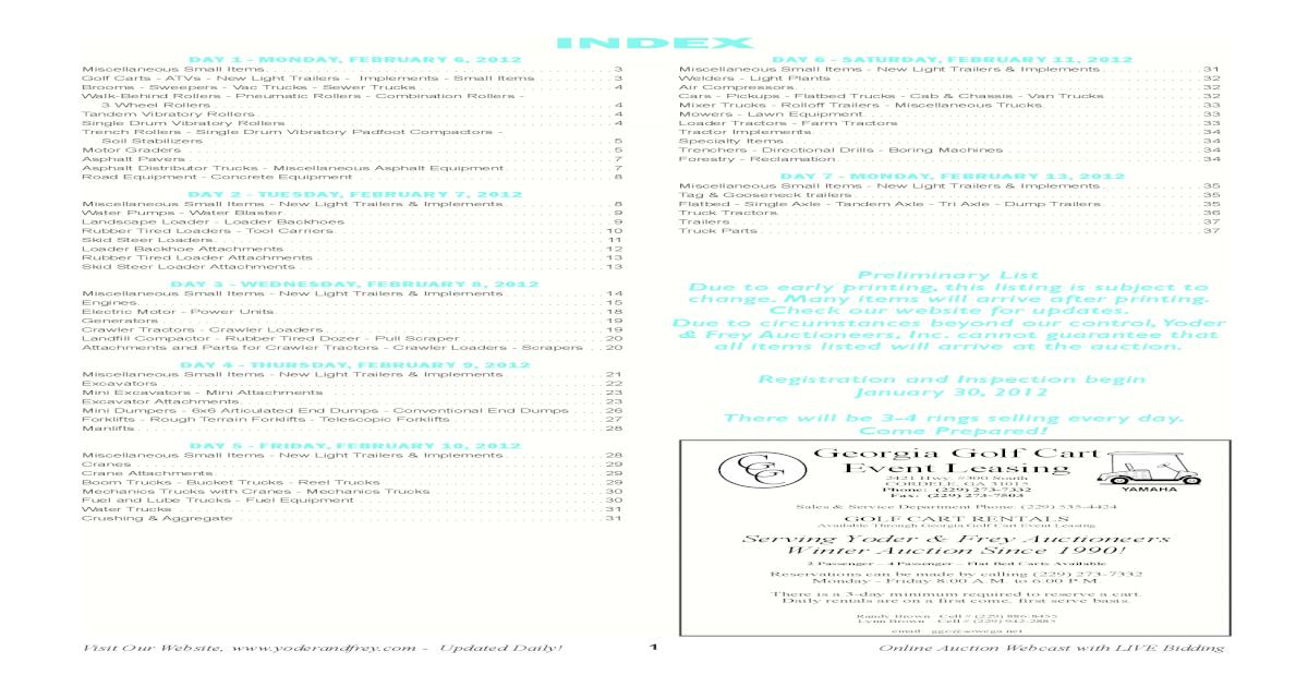 38th Annual Kissimmee, FL 7 Day Auction Brochure