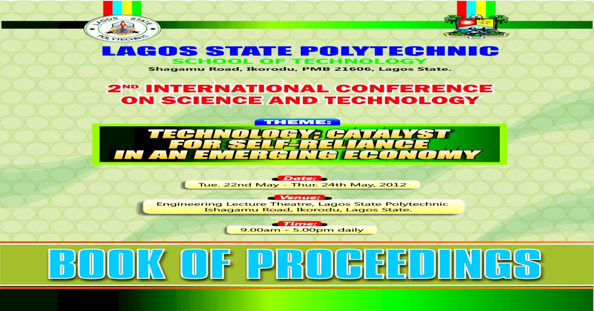 LAGOS STATE POLYTECHNIC,SCHOOL OF TECHNONOLOGY BOOK OF
