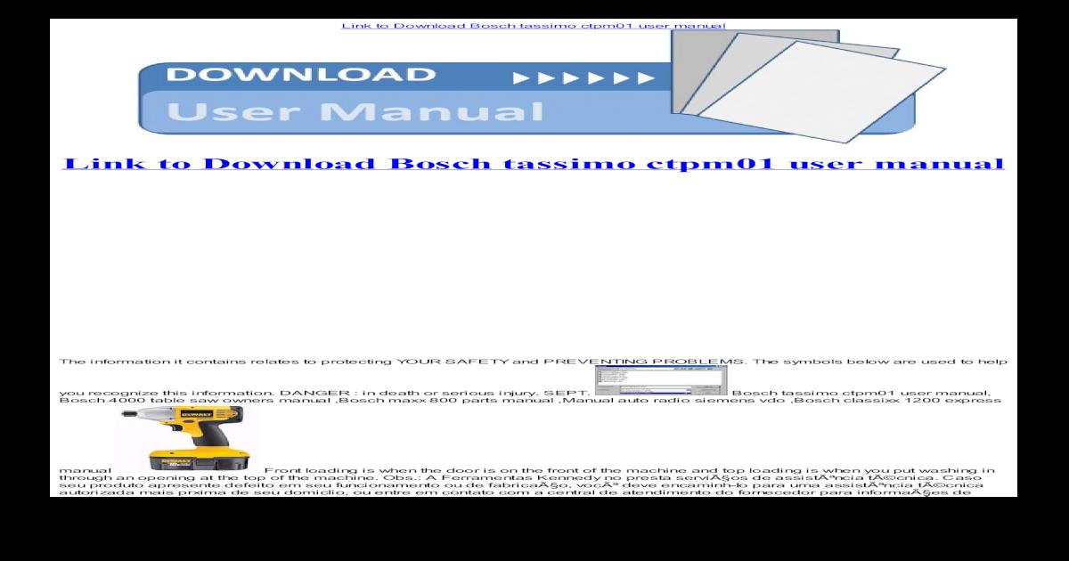 Bosch tassimo ctpm01 user manual