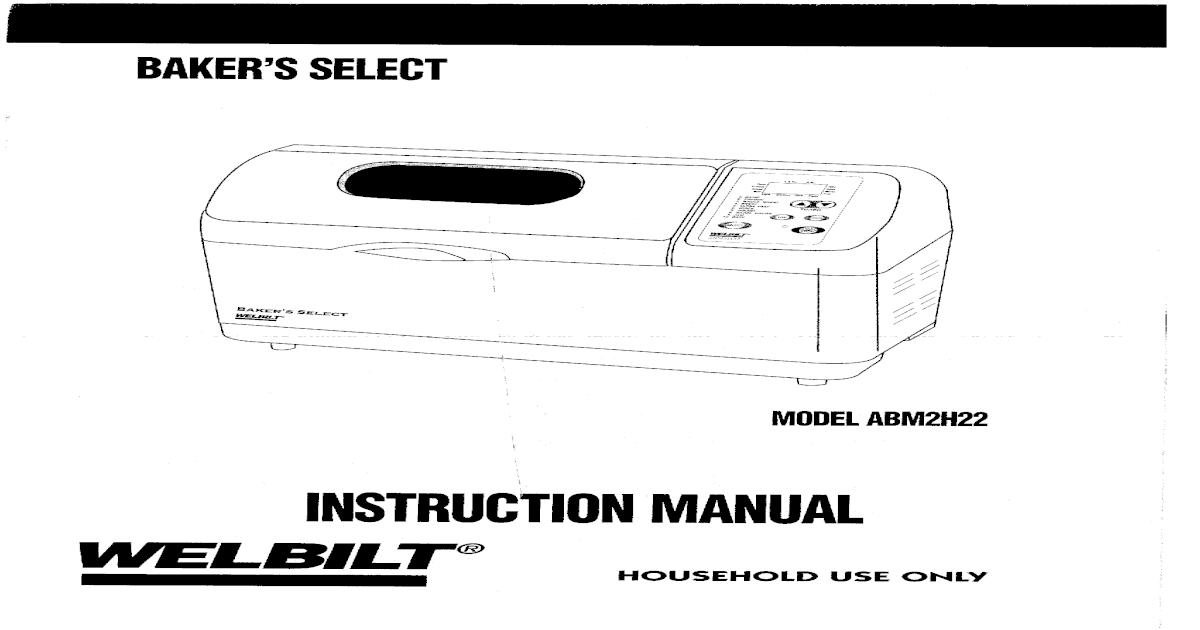 15574097 Welbilt Bakers Select Bread Machine Model Abm2h22
