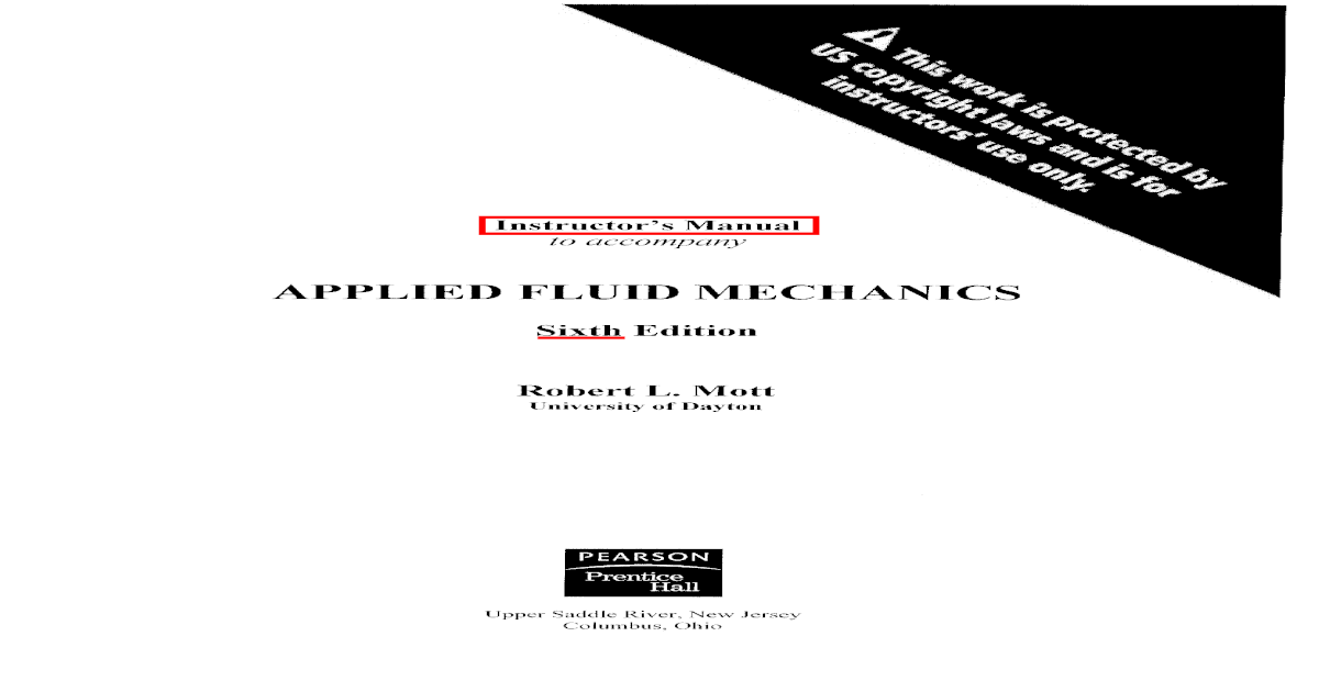 Applied Fluid Mechanics Mott Solutions Manual