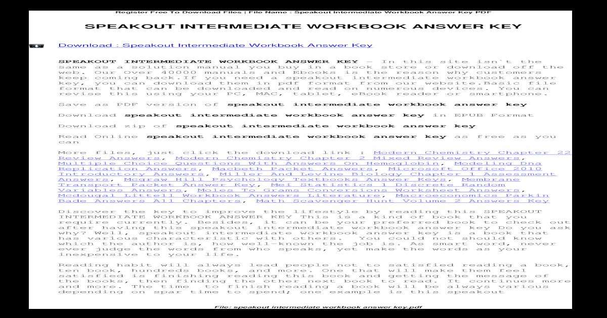 Speakout Intermediate Workbook Answer Key - Staar Released ...
