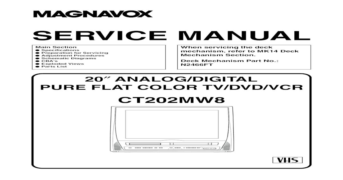 Magnavox Ct202mw8 Tv Dvd-Vcr Sm