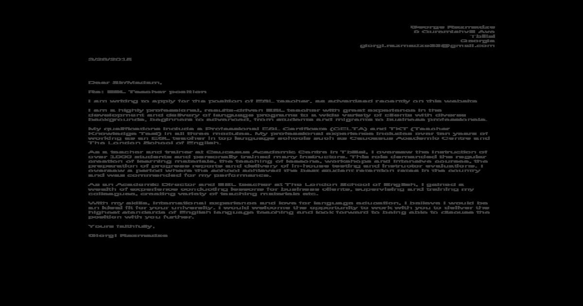 TESOL Teacher Sample Cover Letter Www.careerfaqs.com.Au