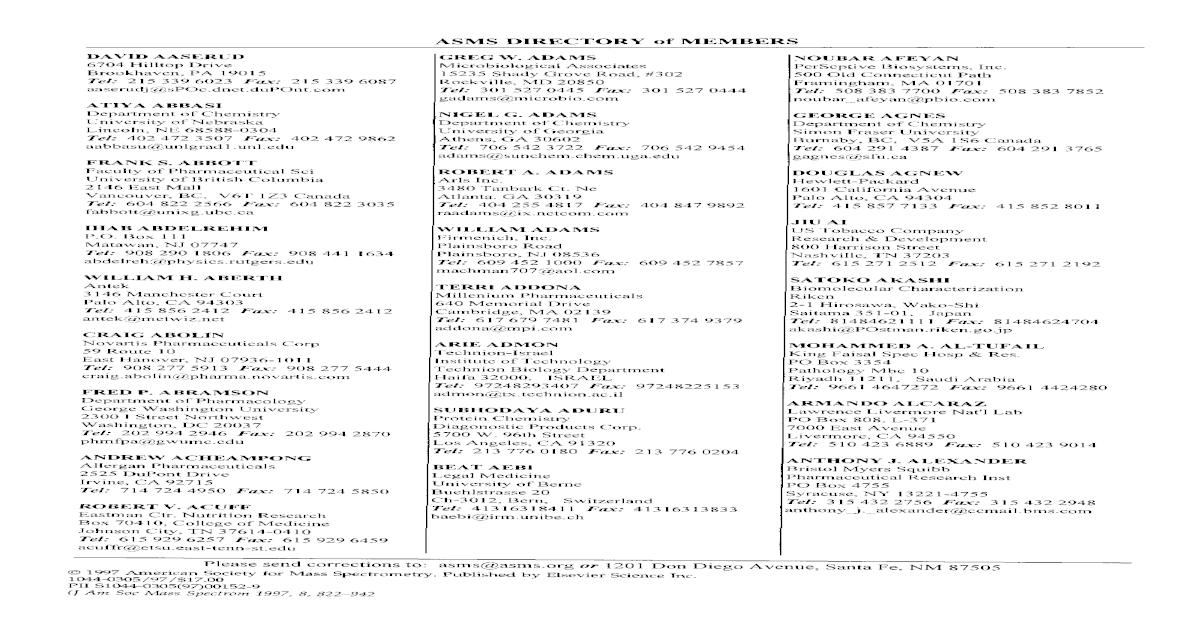 ASMS directory of members
